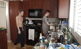 Riley and Brian fuck in the kitchen